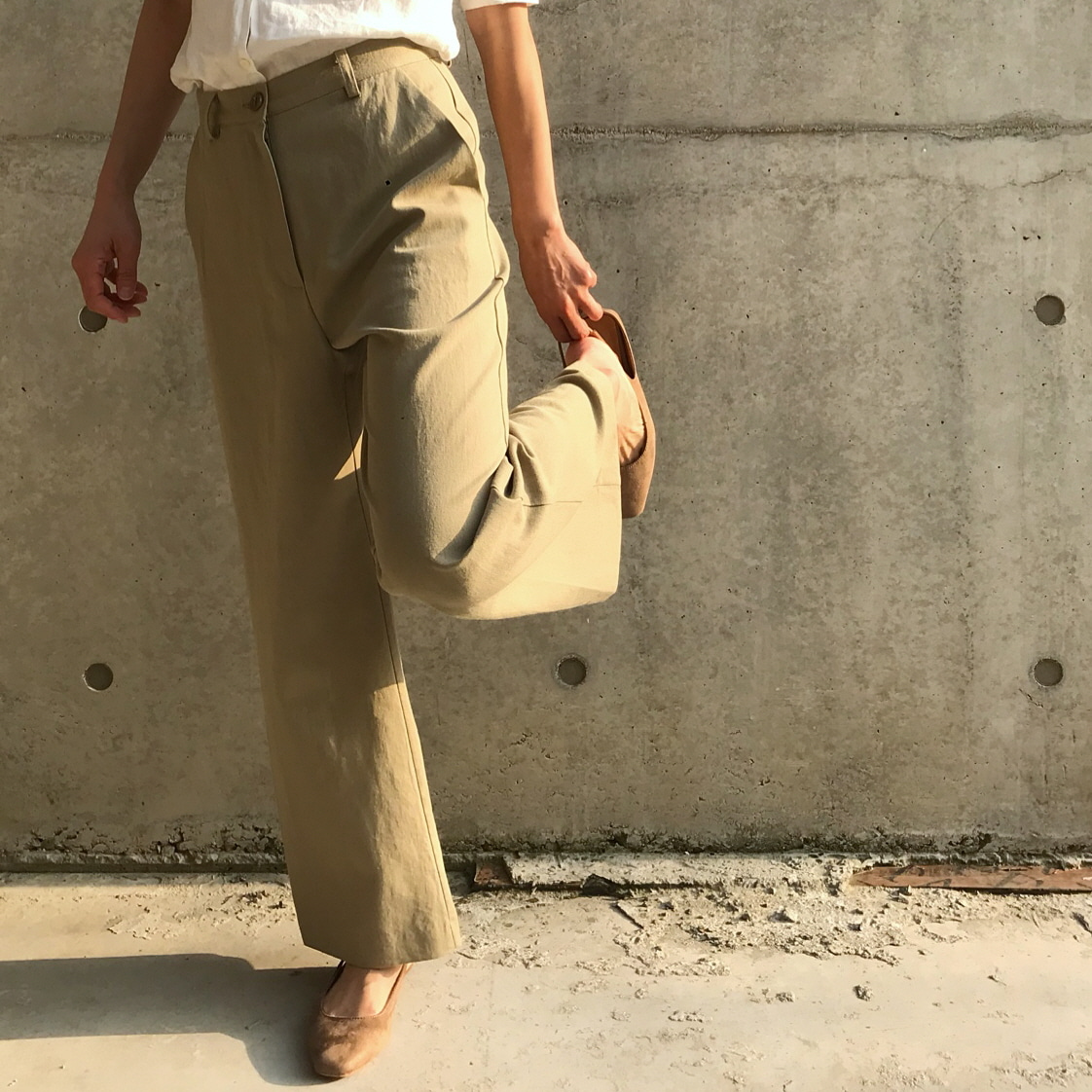 Linen cotten basic pants
